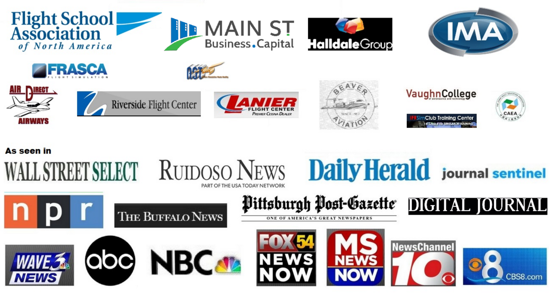 Flight School Association of North America Main St Business Capital Halldale Group IMA FRASCA Wall Street Select Ruidoso News Daily Herald Joura Sentinel npr The Buffalo News Pittsburgh Post-Gazette Digital Journal Logos